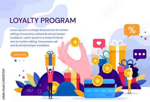 Fotografía  Customer loyalty marketing program, returning customer flat vector illustration with icons and elements