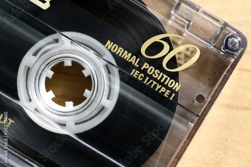 Closeup macro di una cassetta audio, musica vintage anni 80 - 283118460