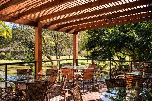 wood pergola and tables in garden farm Obraz na płótnie