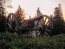 United States Civil War Cannons At Twilight In Gettysburg National Park, Pennsylvania (USA).