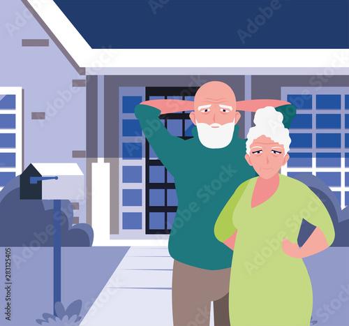Fototapety, obrazy: happy grandparents day flat design