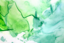 Artistic Background With Green Watercolour Brush Strokes, Blobs, Splashes And Washes. Hand Painted Water Color Painting On White. Beautiful Graphic Backdrop For Card, Poster, Web Site, Flyer, Design.