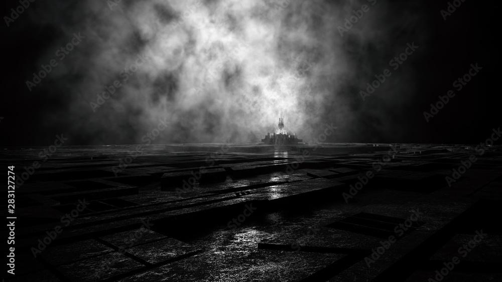 gloomy majestic dark ambient environment with strange skyline of a creepy futuristic city skyline