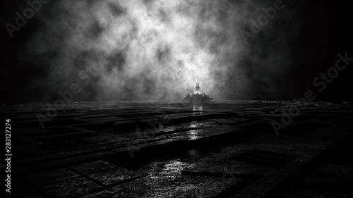 Photo Stands Black gloomy majestic dark ambient environment with strange skyline of a creepy futuristic city skyline