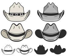 Cowboy Hat Flat Color And Line. Old Cowboy Hat. Vector