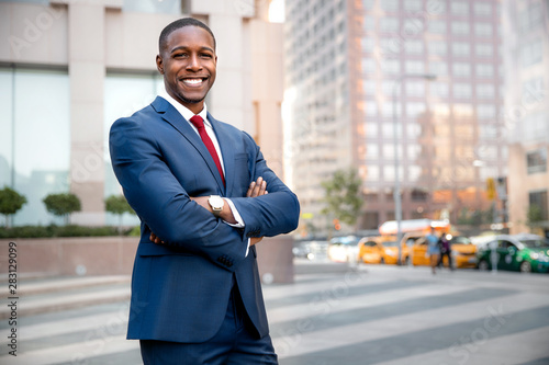 Proud successful businessman executive CEO african american, standing confidentl Canvas Print