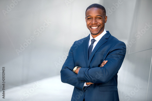 Photo Portrait of male african american professional, possibly business executive corp