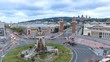 Barcelona Spain time lapse 4K, aerial view city skyline day to night timelapse at Barcelona Espanya Square