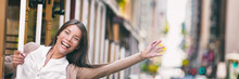 Happy Excited Asian Young Student Woman Enjoying Tram Ride In San Francisco City Panoramic Banner Waving Hello Free On Public Transport Trolley. USA Tramway Travel Panorama.
