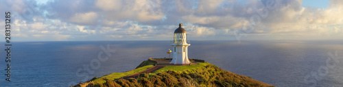 In de dag Beige Cape Reinga lighthouse panorama, Pacific ocean, New Zealand