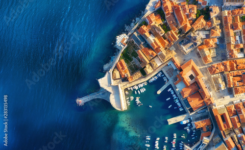 Foto auf Leinwand Blaue Nacht Dudrovnik, Croatia. Aerial view on the old town. Vacation and adventure. Town and sea. Top view from drone at on the old castle and azure sea. Travel - image
