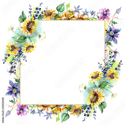 Bouquet with sunflowers botanical flowers. Watercolor background illustration set. Frame border ornament square. Fototapete