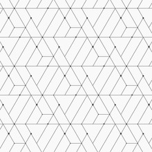 Linear Pattern With Crossing Thin Poly Lines, Polygons And Dotted. Abstract Geometric Texture. Pattern Is On Swatches Panel