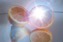 Lemon Slices On Mirrored Surface