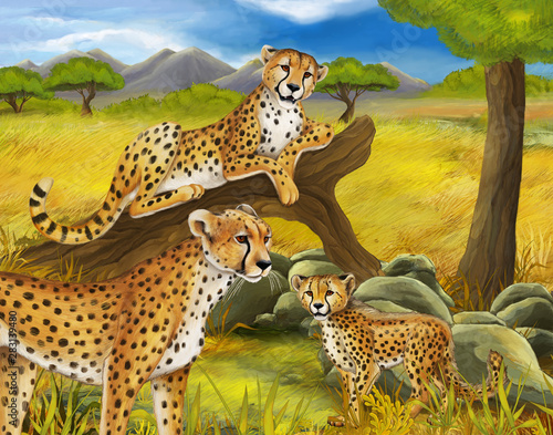 cartoon scene with cheetah resting on tree with family illustration for childrencartoon scene with cheetah resting on tree with family illustration for children Wall mural