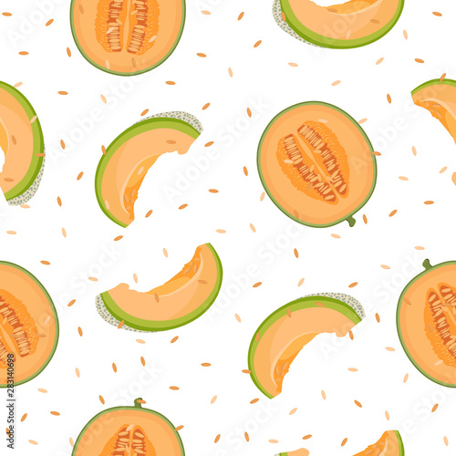 Stampa su Tela Melon half and slice seamless pattern on white background with seed, Fresh cantaloupe melon pattern background, Fruit vector illustration