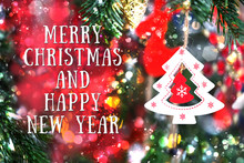 Merry Christmas And Happy New Year Greeting Background. Christmas Tree Toy, Winter Holiday Beautiful Festive Decoration For New Year. Shallow Depth, Soft Selective Focus.