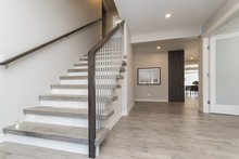Beautiful Shot Of A Modern House Staircase And The Hall