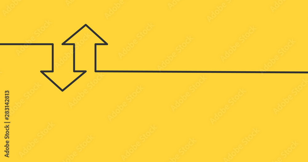 Fototapeta two linear arrows up down icon, two arrows linear sign yellow background. vector illustration.