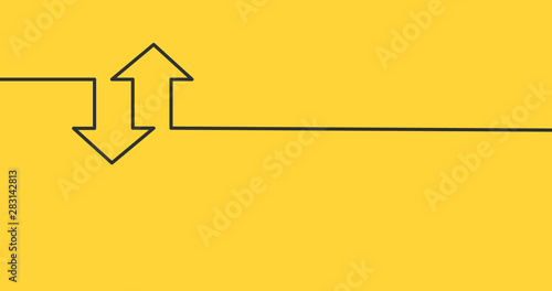 Obraz two linear arrows up down icon, two arrows linear sign yellow background. vector illustration. - fototapety do salonu