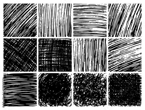 Fényképezés Hand drawn scribble backgrounds big set