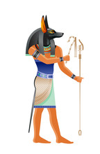 Ancient Egyptian God Anubis. Deity With Canine Head. God Of Death, Mummification Embalming, Afterlife. 3d Cartoon Vector Illustration. Old Mural Paint Art Icon From Egypt. Isolated On White Background