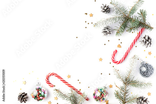 Spoed Foto op Canvas Bol Christmas decorations. Christmas, winter, new year concept. Fir tree branches, pine cones, xmas balls and decorations on white background. Flat lay, top view, copy space