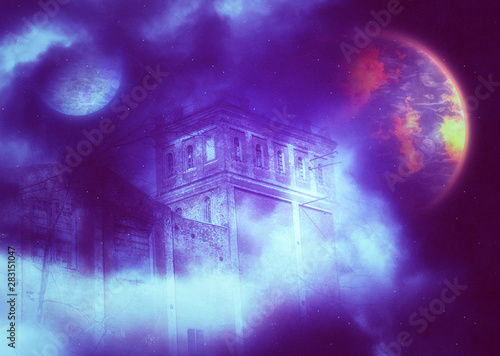Poster Violet Castle tower in the starry fog with planets