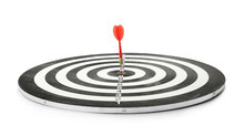 Red Arrow Hitting Target On Dart Board Against White Background