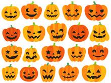 色々なハロウィンのかぼちゃのイラストセット