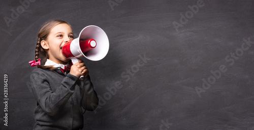Child Girl Student Shouting Through Megaphone on Blackboard Back Wallpaper Mural