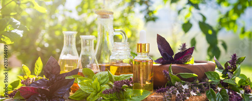 Fotografie, Obraz  Oil for skin care, massage from natural ingredients, herbs, mint in glass jars a
