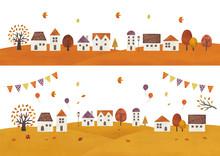 秋の街ハロウィンカラー水彩