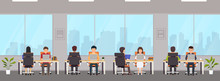 Modern Office Interior With Employees. Creative Office Workspace With Big Window, Desktop, Laptop.