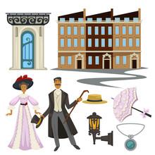 1900s Symbols, Man And Woman, Retro Fashion Style And Architecture