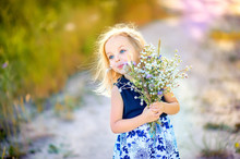 Lovely Cute Little Girl With B...