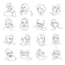 People Portraits Or Sketch Avatars, Men And Women Faces