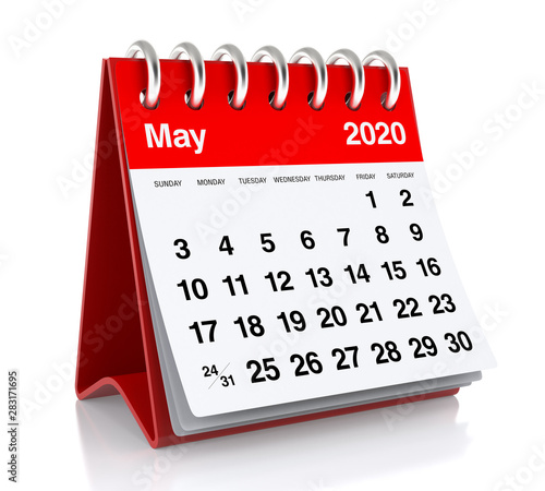 May 2020 Calendar  Isolated on White Background  3D