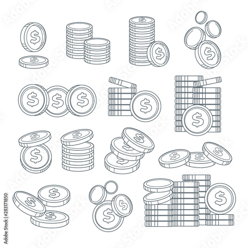 Fotografía  Coin stacks or pennies isolated sketches, banking business, cash