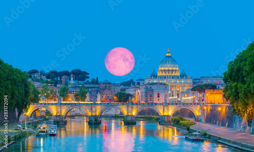St Peter Cathedral with full moon - Rome, Italy Elements of this image furnishe Billede på lærred