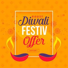 Big Diwali Sale And Offer Background With Diya