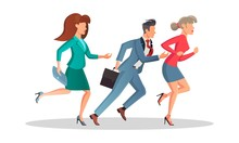 Business People Are Late And Hurry Up. Men And Women Running In The Same Direction To Work, Meeting In Morning. Motivation, Competition, Deadline, Sale Concept. Vector Cartoon Isolated On White.