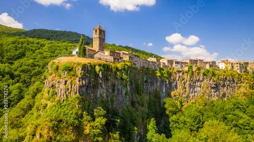 Con. Antique Castellfollit de la Roca. Castle on the rock. Spain. Aerial view