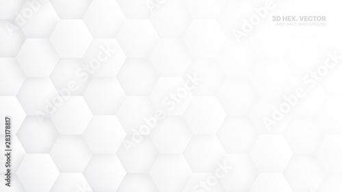 Fototapety, obrazy: 3D Vector Hexagons Pattern Technology White Abstract Background. Concept Scientific Tech Hexagonal Blocks Structure Light Grey Wallpaper. Clear Blank Subtle Textured Banner Backdrop