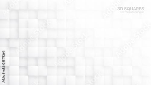 Obraz na plátne 3D Vector Squares White Abstract Background