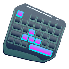 Dark One Hand Gaming Keyboard, Gaming Keypad, Mini Gaming Keyboard On Isolated Background, Bright Flat Icon With Pink And Blue Colors. White Back Vector.