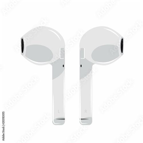 Cuadros en Lienzo  air icon Headphones Wireless Earphones garniture electronic gadget pod -vector i