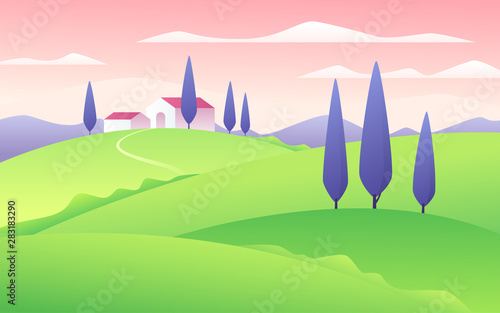 Poster Turquoise Vector illustration of a summer flat style rural landscape