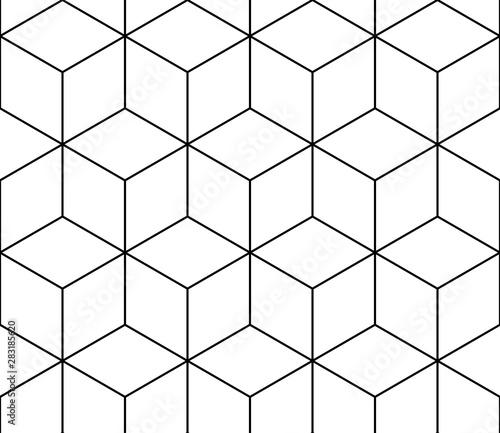 Obraz Isometric cube black line seamless pattern on white background. - fototapety do salonu