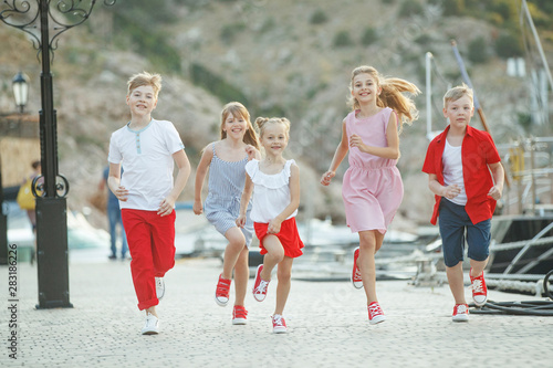 Fashionable children by the sea. Children's fashion.